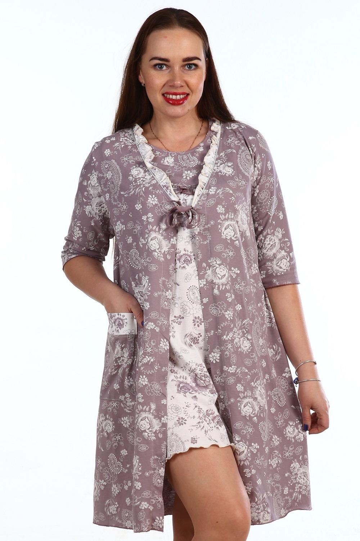 Пеньюар женский Ленор халат и сорочкаДомашняя одежда<br><br><br>Размер: 56