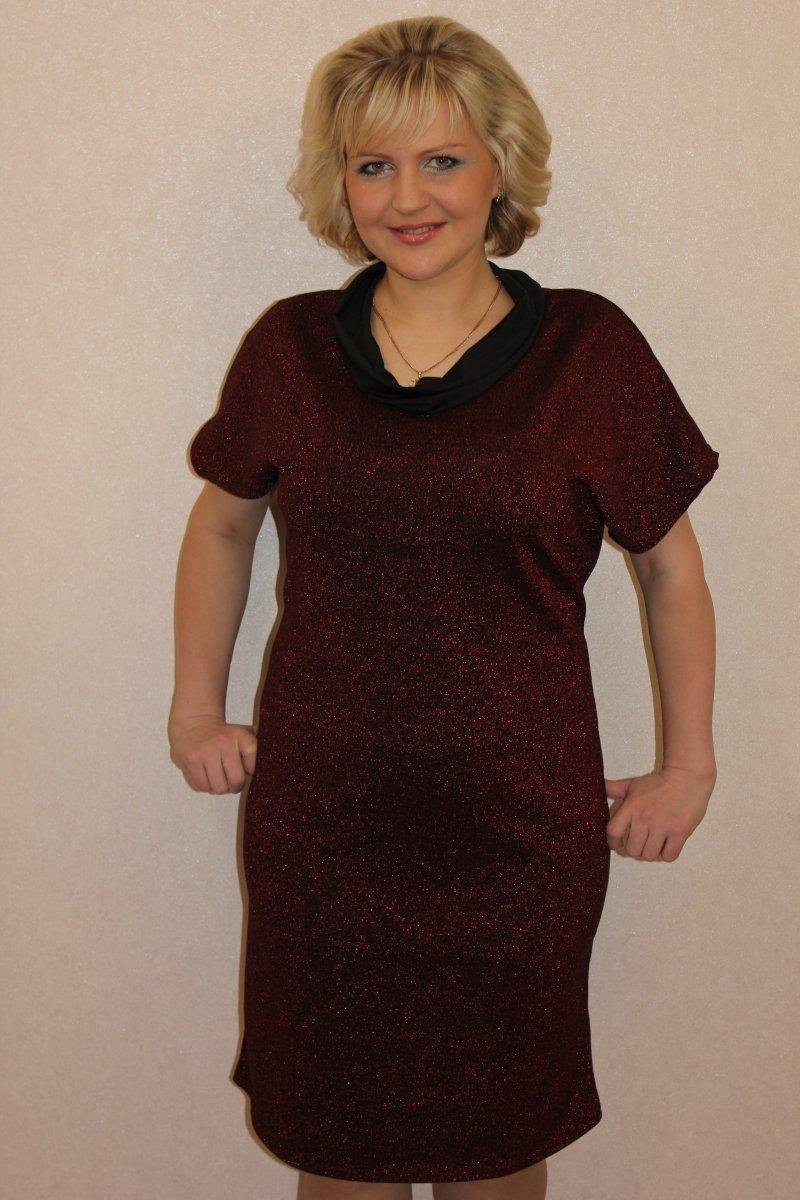 Платье женское Искра с воротником хомутПлатья и сарафаны<br><br><br>Размер: 60