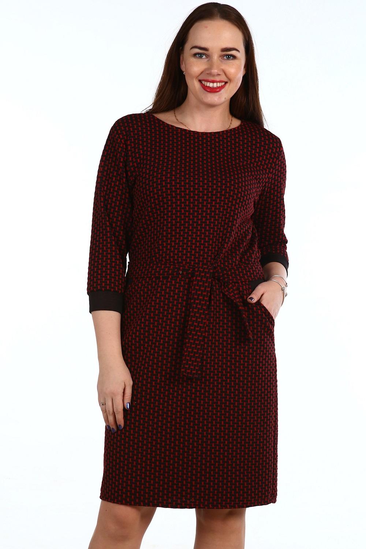 Платье женское Николь с поясомКоллекция ОСЕНЬ-ЗИМА<br><br><br>Размер: Белый ромб