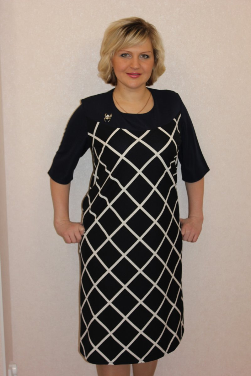 Платье женское Жемчужина с круглым вырезомКоллекция ОСЕНЬ-ЗИМА<br><br><br>Размер: 64
