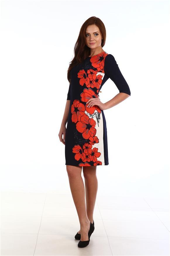 Платье женское Букет с рукавом до локтяКоллекция ОСЕНЬ-ЗИМА<br><br><br>Размер: 48