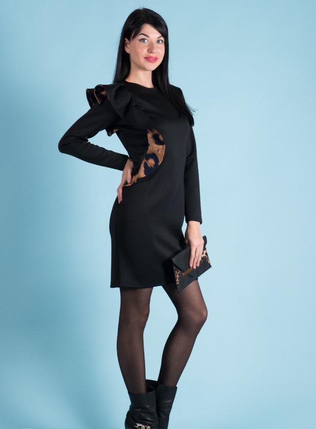 Платье женское Агнесса с воланомКоллекция ОСЕНЬ-ЗИМА<br><br><br>Размер: 52