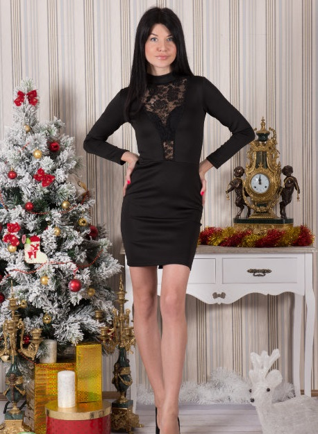 Платье женское Бриджида с гипюромКоллекция ОСЕНЬ-ЗИМА<br><br><br>Размер: 48