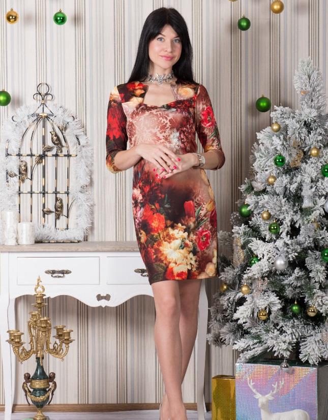 Платье женское Букеты с квадратным вырезомКоллекция ОСЕНЬ-ЗИМА<br><br><br>Размер: 48