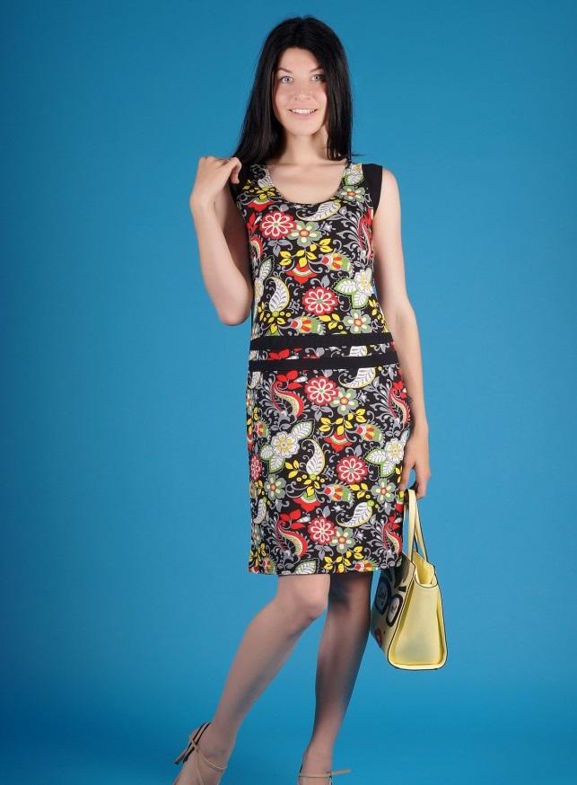 Платье женское Хохлома красная без рукаваПлатья и сарафаны<br><br><br>Размер: 46
