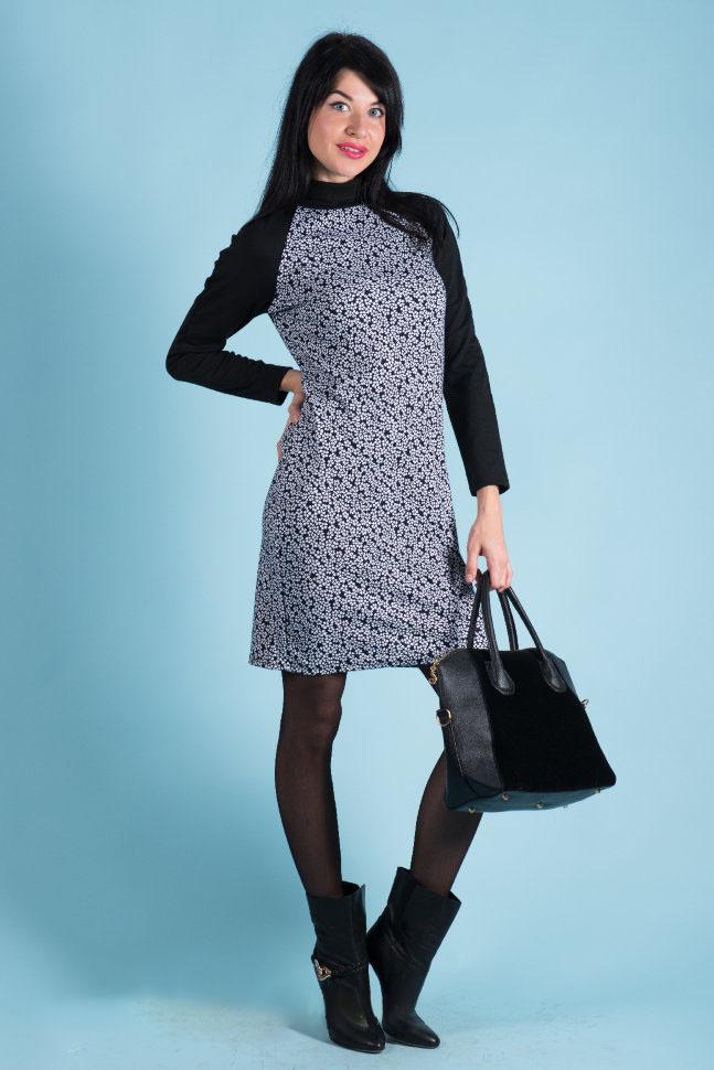 Платье женское Мозаика с воротником-стойкойКоллекция ОСЕНЬ-ЗИМА<br><br><br>Размер: 44