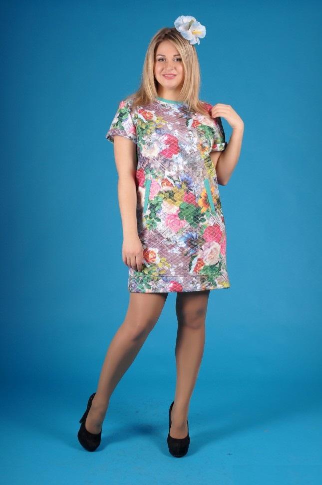 Платье женское Орсина с коротким рукавомПлатья и сарафаны<br><br><br>Размер: 48