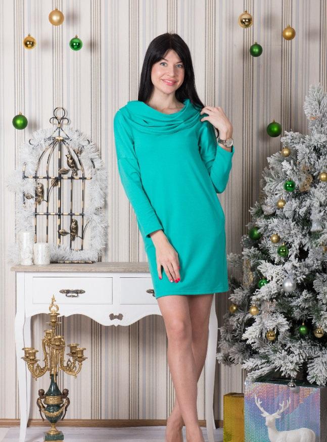 Платье женское Паолина с капюшономКоллекция ОСЕНЬ-ЗИМА<br><br><br>Размер: Ментол