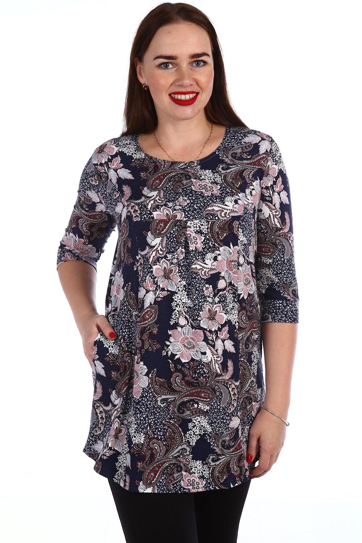 Туника женская Физалис с круглым вырезомТуники, рубашки и блузы<br><br><br>Размер: 52