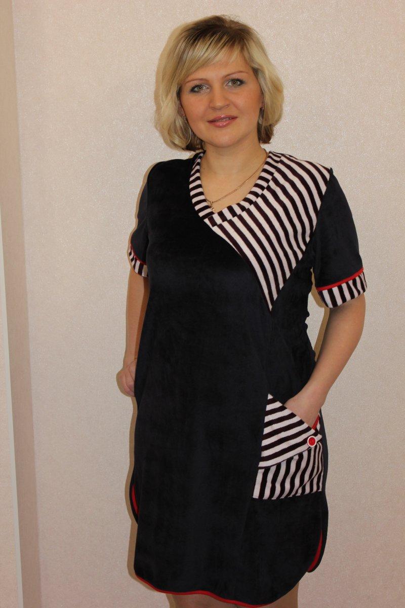 Туника женская Хельта с коротким рукавомТуники, рубашки и блузы<br><br><br>Размер: 60