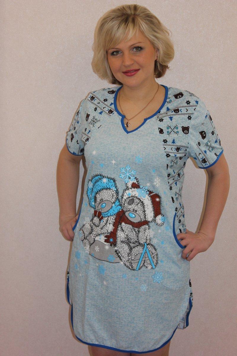 Туника женская Зимняя мелодия голубая с коротким рукавомТуники, рубашки и блузы<br><br><br>Размер: 56