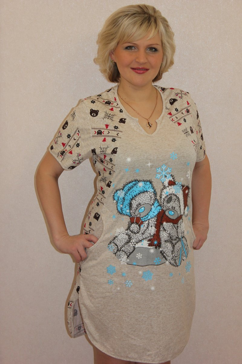 Туника женская Зимняя мелодия бежевая с коротким рукавомТуники, рубашки и блузы<br><br><br>Размер: 48