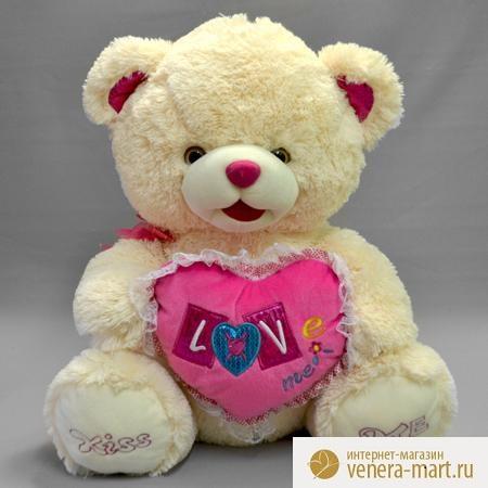 Мягкая игрушка мишка Love me с сердцемПодарки к 8 марта<br><br><br>Размер: 60 см