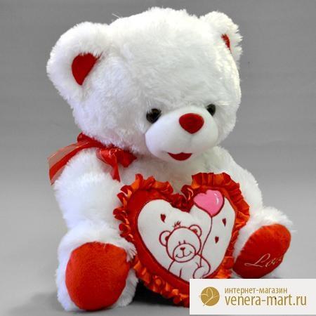 Мягкая игрушка мишка Люси с сердцемПодарки к 8 марта<br><br><br>Размер: 35 см