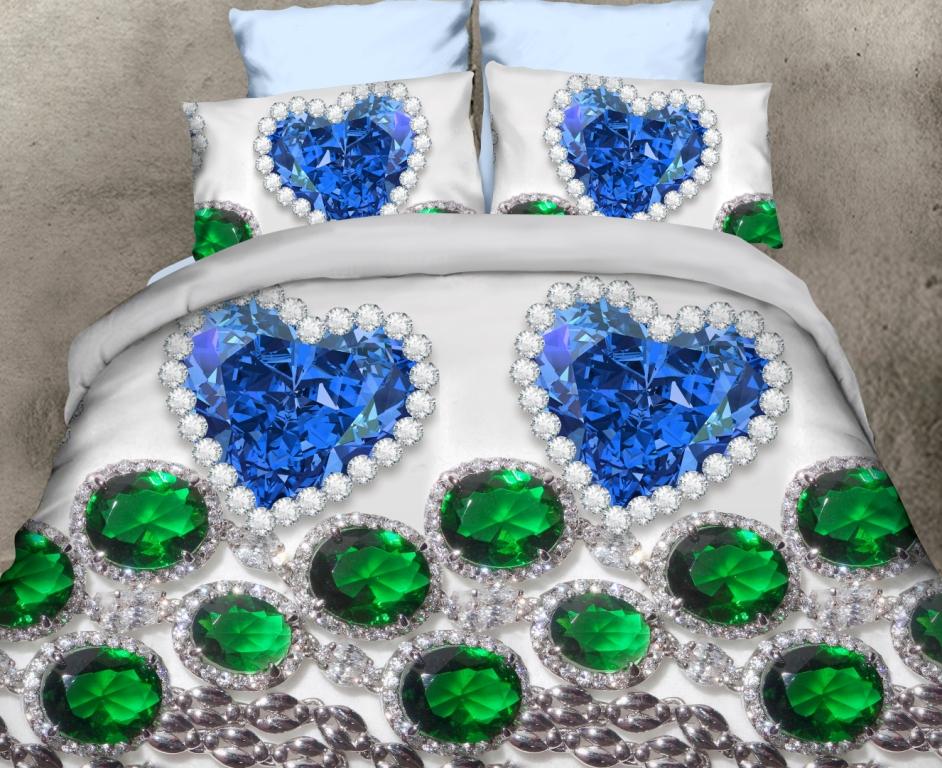 Комплект постельного белья Самоцветы из поплинаПодарки на День рождения<br><br><br>Размер: Евро-стандарт