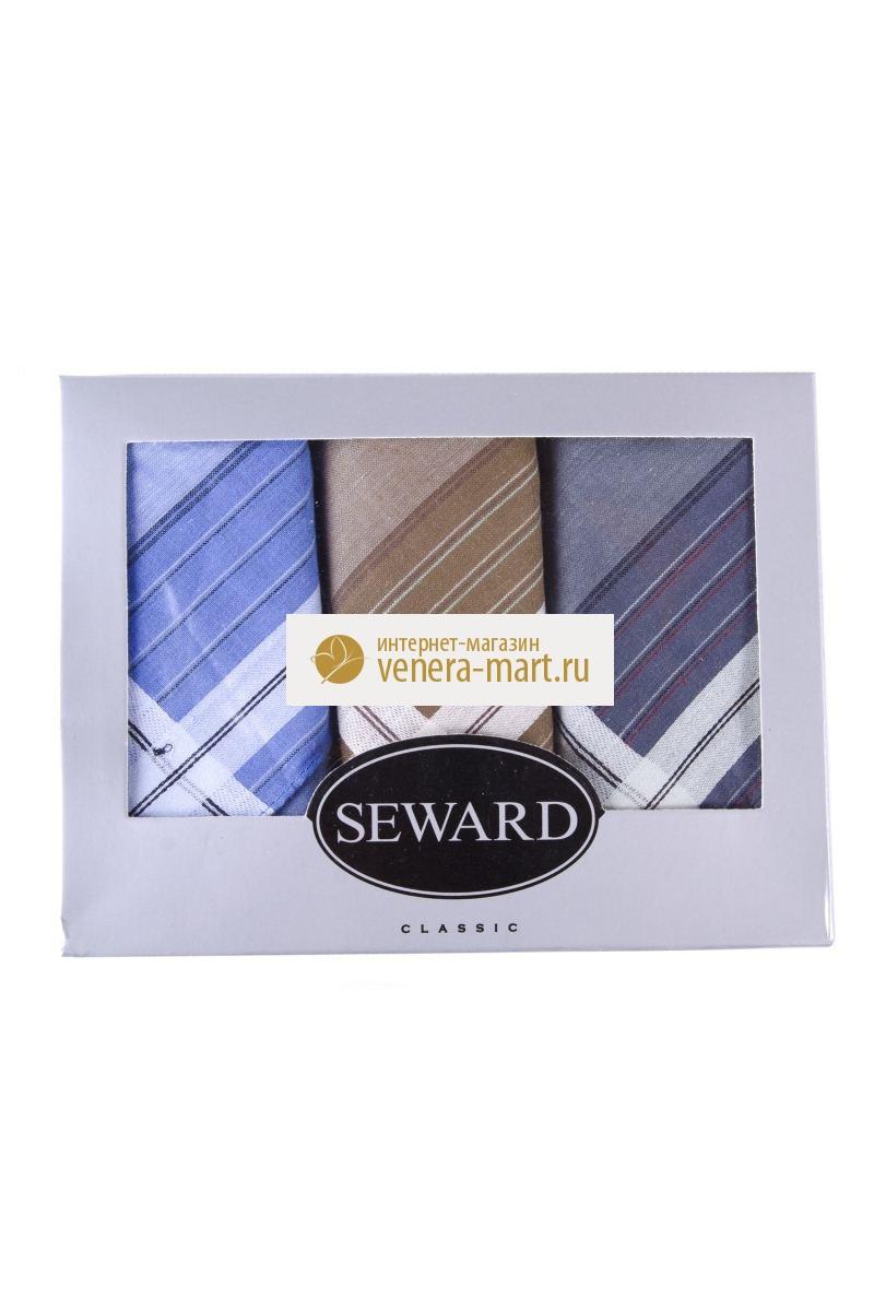 Подарочный набор мужских носовых платков Seward в упаковке, 3 шт.Подарки к 23 февраля<br><br><br>Размер: 30х30 см
