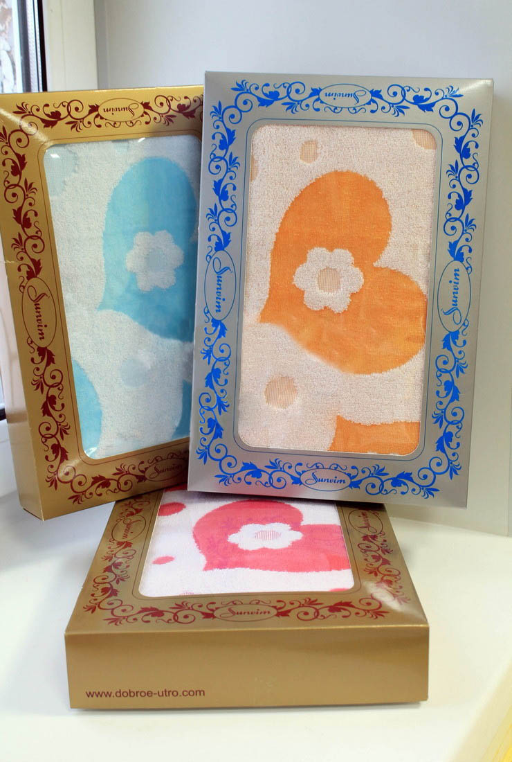 Подарочный набор Сердца (1 полотенце)Подарки на День рождения<br><br><br>Размер: Оранжевый