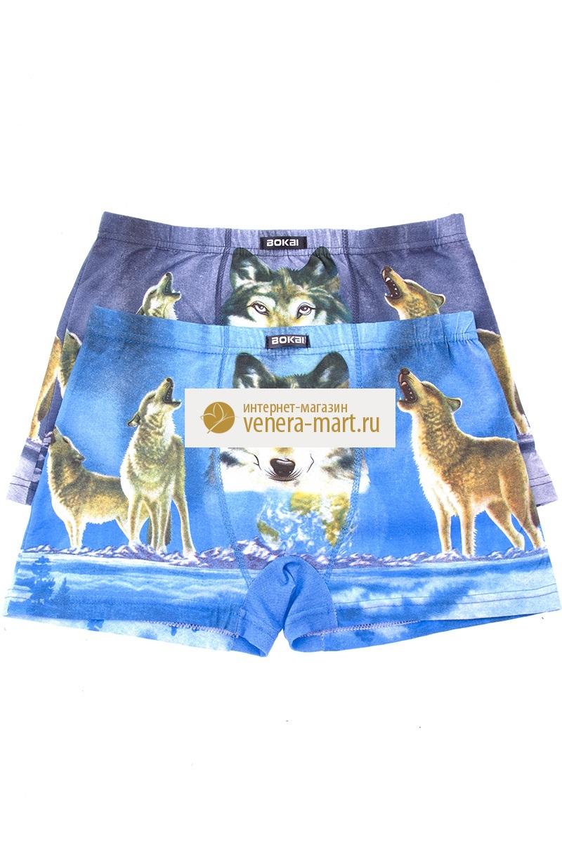Трусы мужские Bokai (волки) в упаковке, 3 шт.Подарки к 23 февраля<br><br><br>Размер: 52