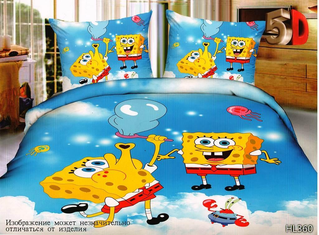 Комплект постельного белья Губка Боб из полисатинаДетское постельное белье<br><br><br>Размер: 1.5сп. (2 нав.70х70)