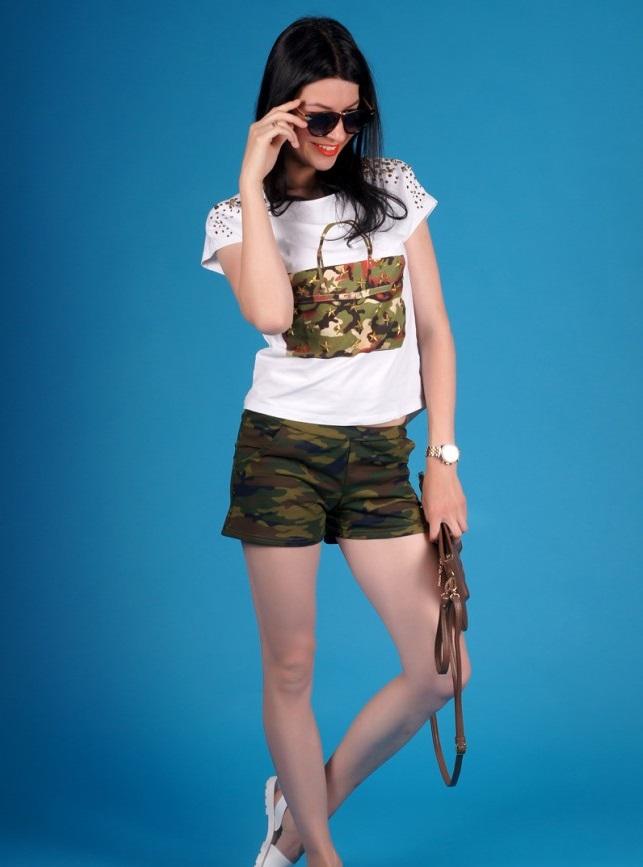 Шорты женские Камуфляж с карманамиБрюки, шорты<br><br><br>Размер: 42 (только зелёный цвет)