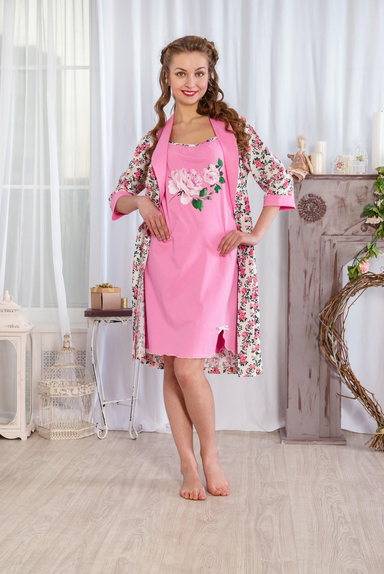 Комплект женский Цветочный сорочка и халат из хлопкаДомашние комплекты, костюмы<br><br><br>Размер: Розовый