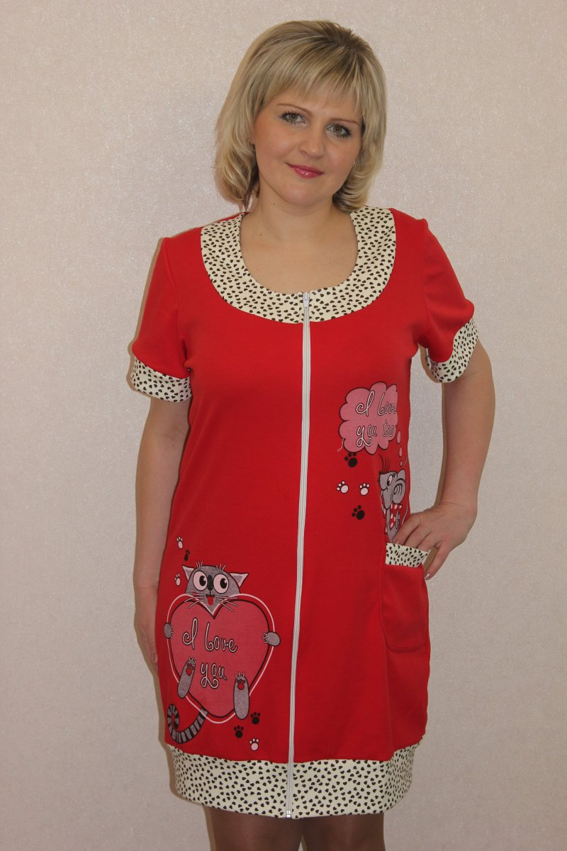 Халат женский Кошка и мышка на молнииДомашняя одежда<br><br><br>Размер: 56