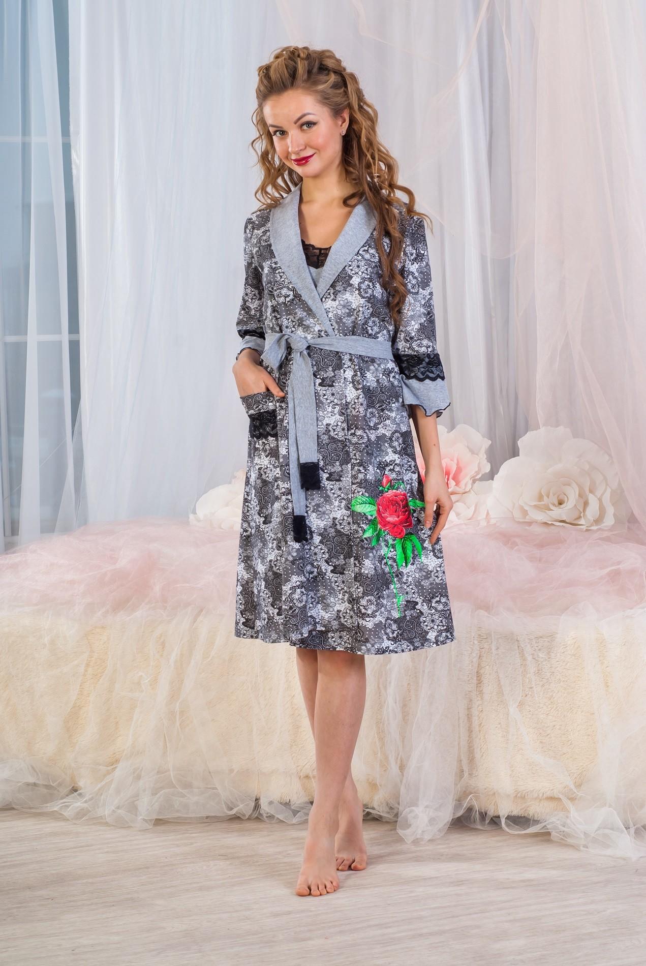 Комплект женский Узоры халат и сорочкаДомашняя одежда<br><br><br>Размер: 54