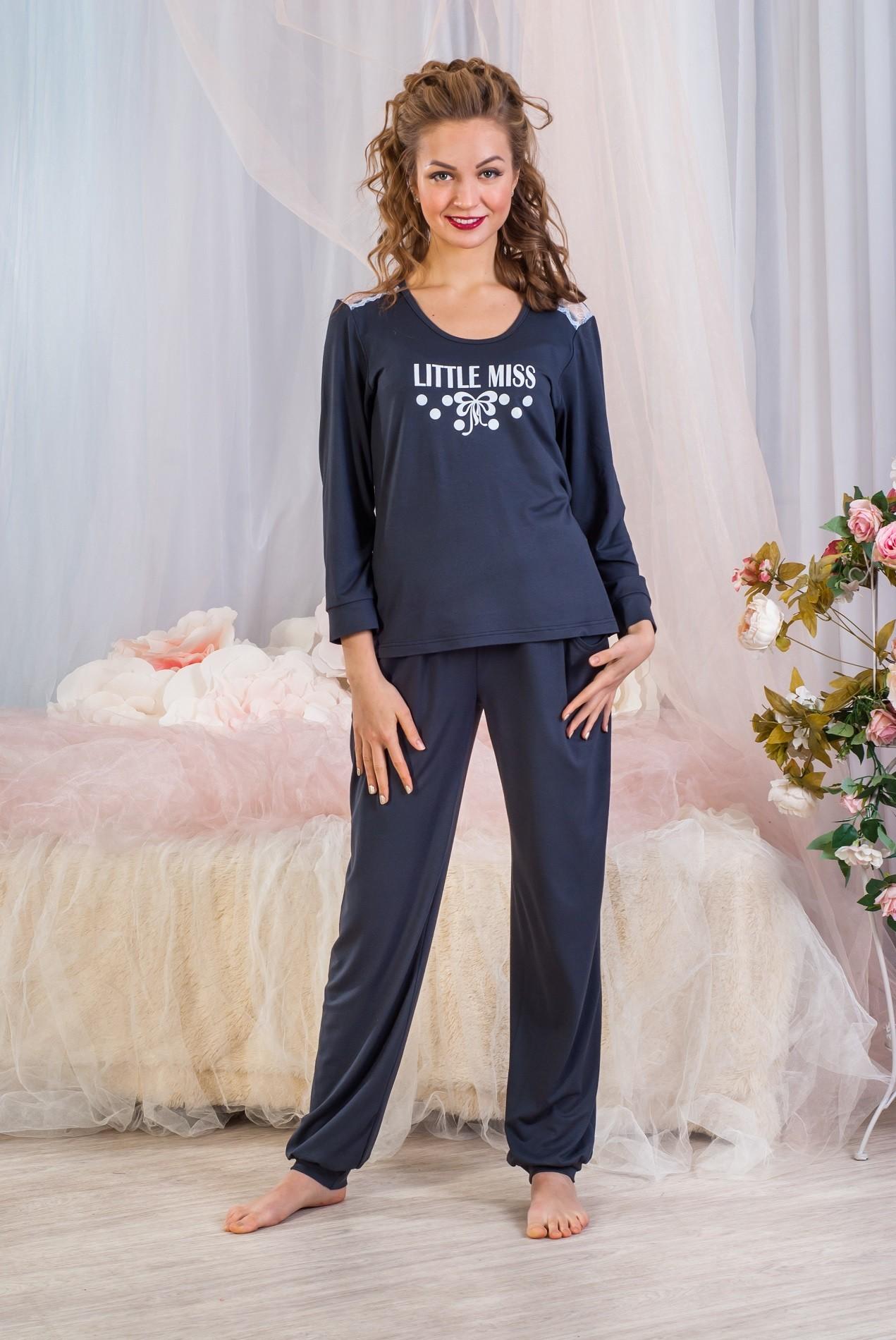 Костюм женский Антрацит блуза и брюкиДомашняя одежда<br><br><br>Размер: 46