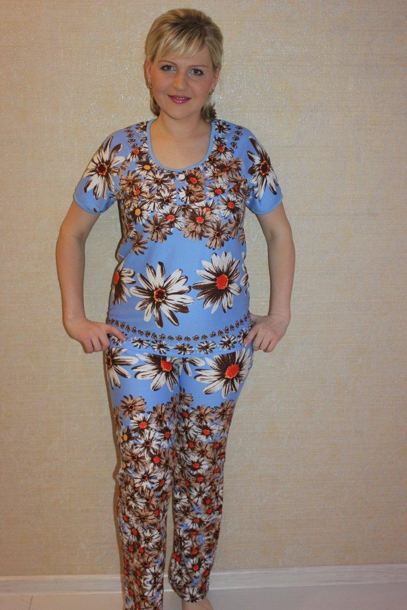 Костюм женский Кристи голубой - футболка и брюкиКостюмы<br><br><br>Размер: 58