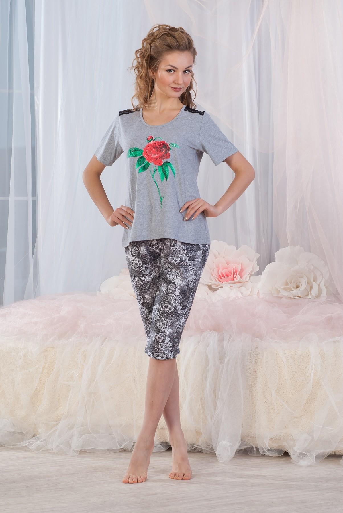 Костюм женский Узоры футболка и бриджиДомашняя одежда<br><br><br>Размер: 46