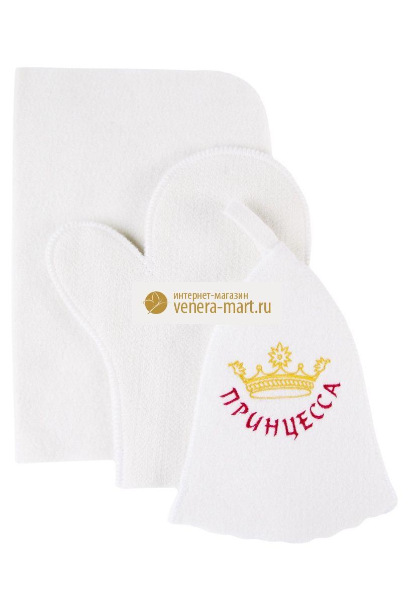 Набор банный женский Принцесса в упаковке, 3 предметаПодарки на День рождения<br><br><br>Размер: 44х33 см