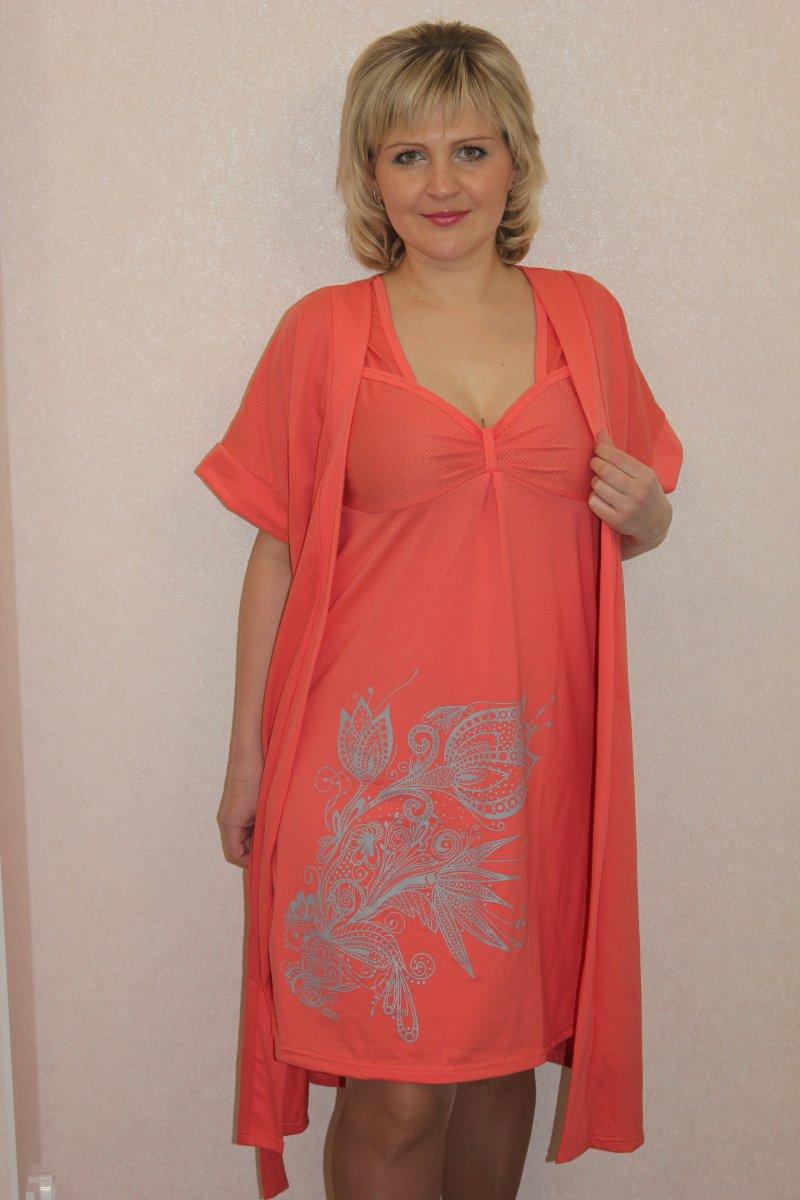 Пеньюар женский Тюльпан халат и сорочкаДомашняя одежда<br><br><br>Размер: 48