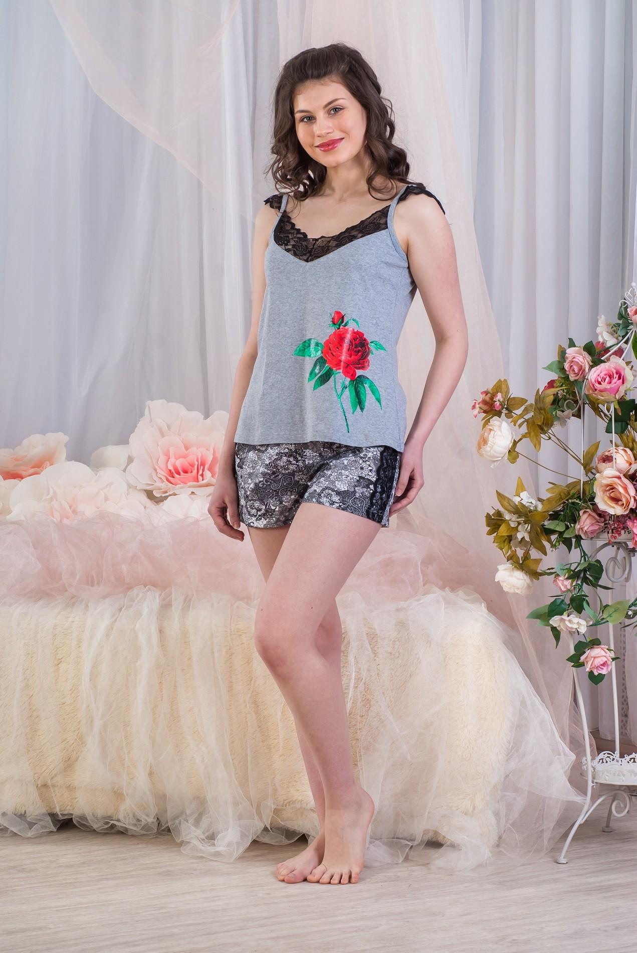 Пижама женская Узоры майка и шортыДомашняя одежда<br><br><br>Размер: 46