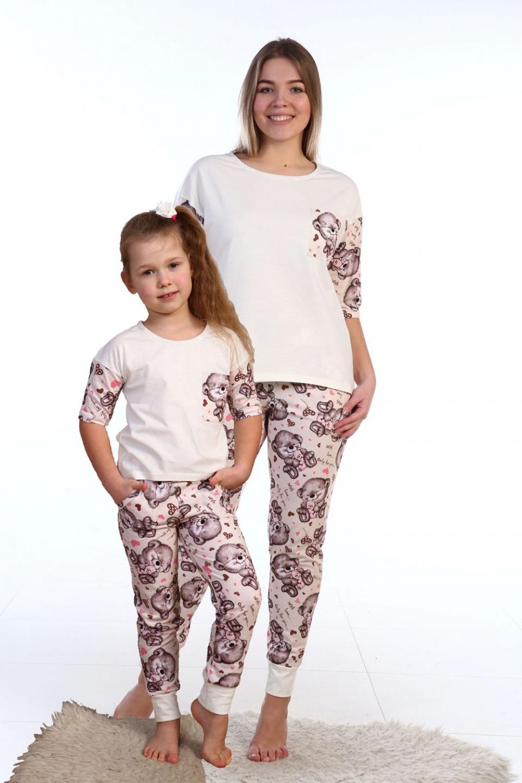 Пижама женская Мишки футболка и брюкиДомашняя одежда<br><br><br>Размер: 42