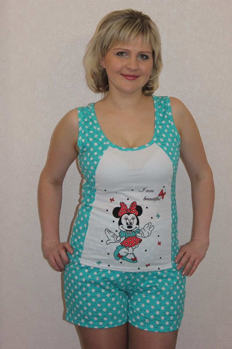 Пижама женская Мышка майка и шортыДомашняя одежда<br><br><br>Размер: 50