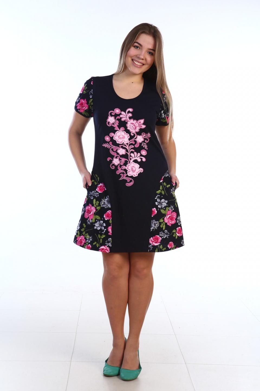 Платье-туника женское Хельми с коротким рукавомПлатья и сарафаны<br><br><br>Размер: Серый