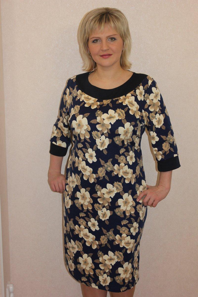 Платье женское Весна с бежевыми цветамиПлатья и сарафаны<br><br><br>Размер: 56