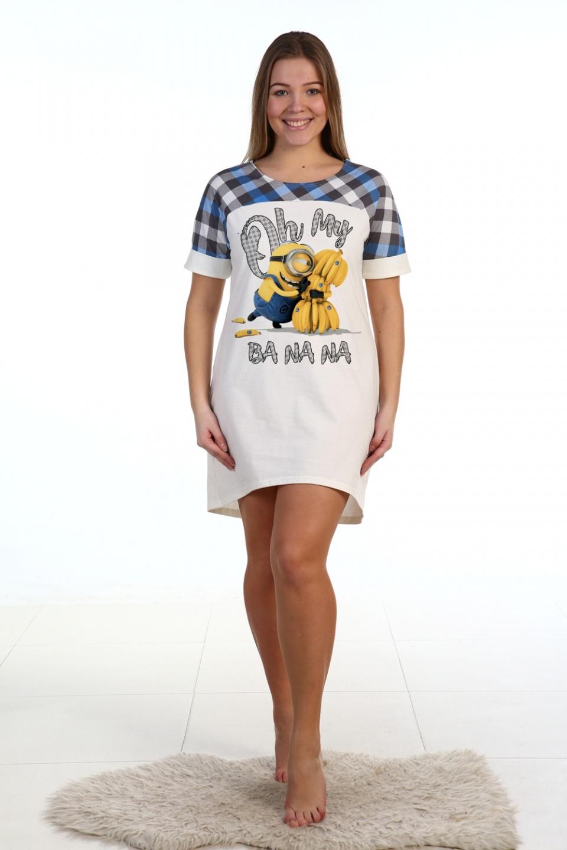 Сорочка женская Banana с коротким рукавомДомашняя одежда<br><br><br>Размер: 52