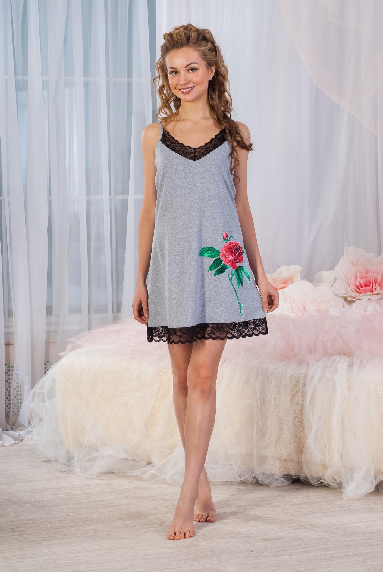 Сорочка женская Цветик на тонких бретеляхДомашняя одежда<br><br><br>Размер: 48