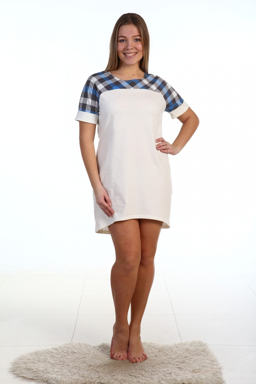 Сорочка женская Малика с коротким рукавомДомашняя одежда<br><br><br>Размер: 48