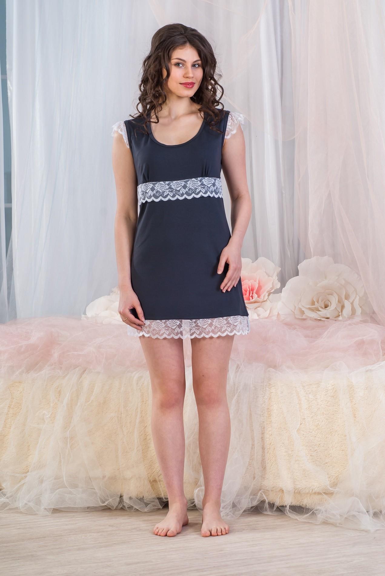Сорочка женская Сильвия с кружевной отделкойДомашняя одежда<br><br><br>Размер: 46