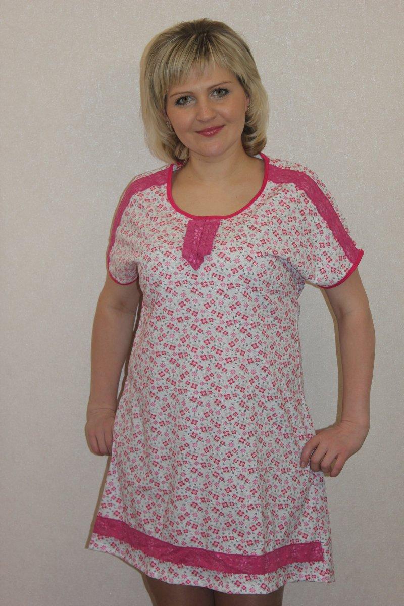 Сорочка женская Жустина с коротким рукавомДомашняя одежда<br><br><br>Размер: 58