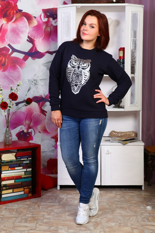 Свитшот женский Ночная сова с длинным рукавомКофты, свитера, толстовки<br><br><br>Размер: 52