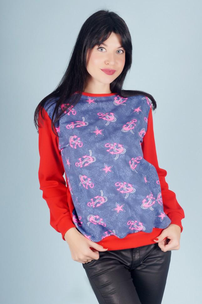 Свитшот женский Якоря с длинным рукавомКофты, свитера, толстовки<br><br><br>Размер: 50