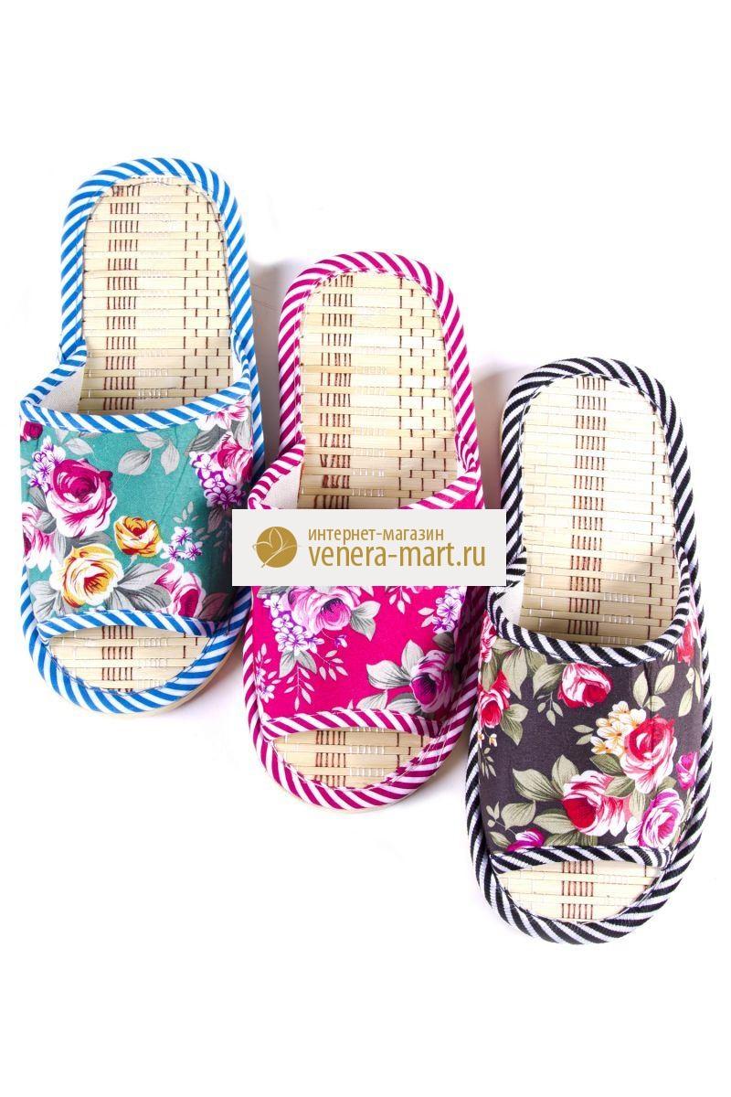 Тапки женские Цветник с открытым мыскомПодарки на День рождения<br><br><br>Размер: Розовый