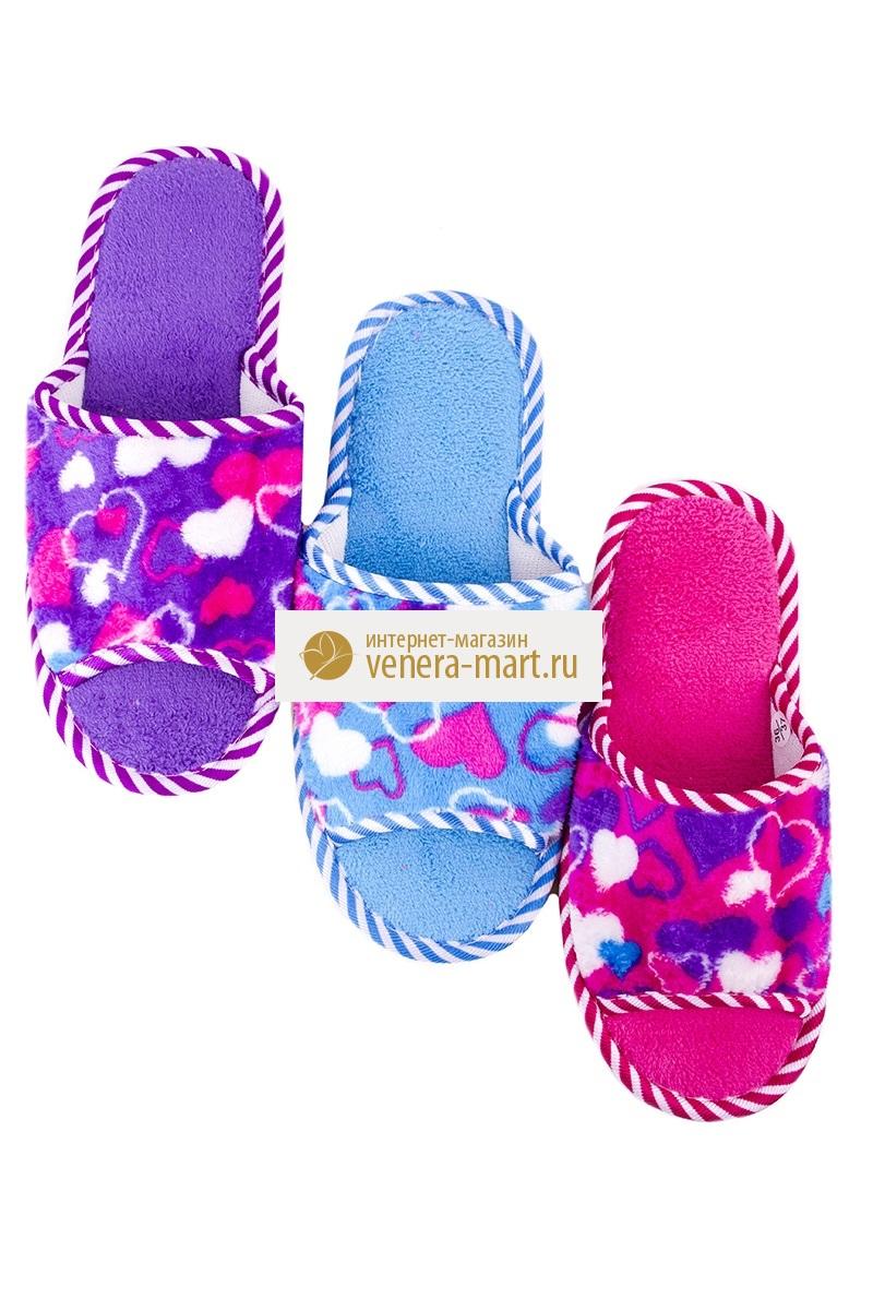 Тапки женские Сердечки с открытым мыскомПодарки на День рождения<br><br><br>Размер: Фиолетовый