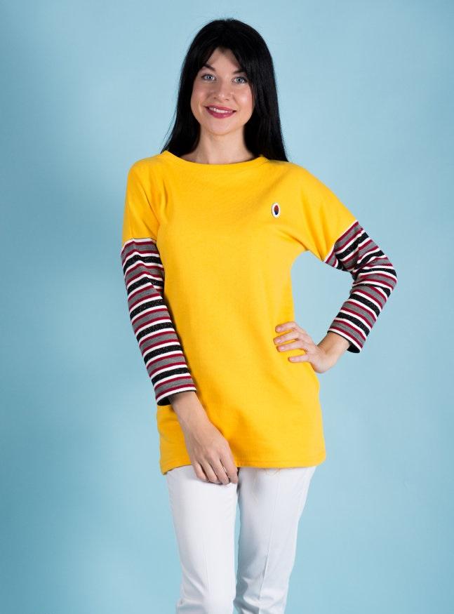Туника женская Аризона с длинным рукавомТуники, рубашки и блузы<br><br><br>Размер: 46