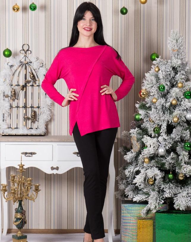 Туника женская Дакота с длинным рукавомТуники, рубашки и блузы<br><br><br>Размер: Малиновый