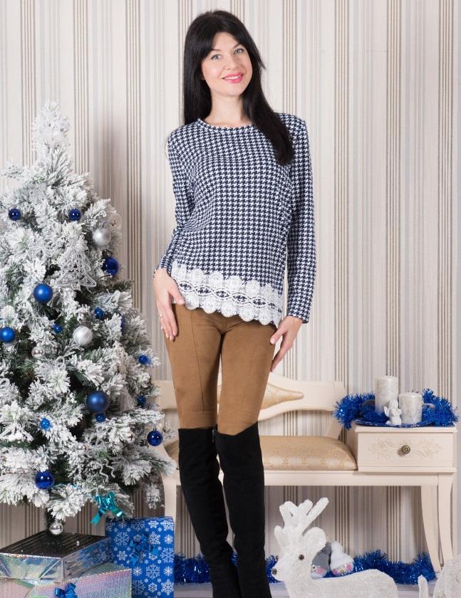 Туника женская Миннесота с кружевной отделкойТуники, рубашки и блузы<br><br><br>Размер: 48