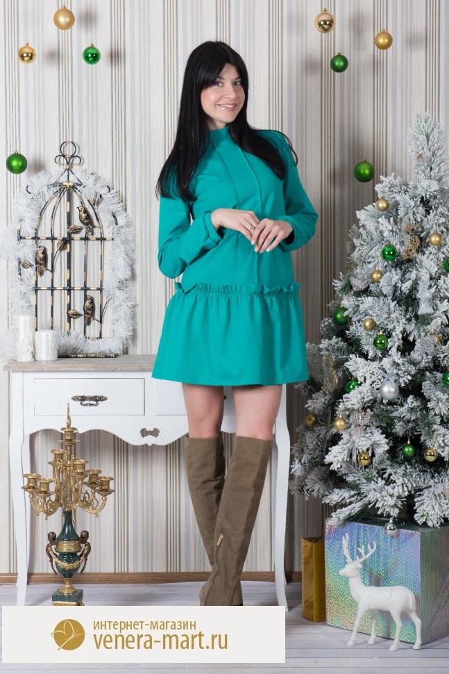 Платье-туника женское Минни с длинным рукавомПлатья и сарафаны<br><br><br>Размер: Изумрудный